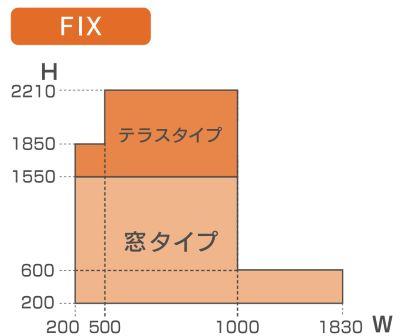 楽窓-製作可能範囲:FIXタイプ